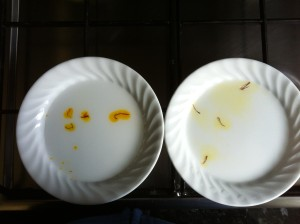 Fig. 1. Suspicious saffron on the left and trusted saffron on the right. Immediately after adding tepid water.