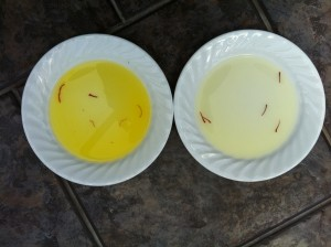 Fig. 3. After giving the plates a swirl, three of the suspicious saffron threads have completely lost their colour and don't look anything like stigmas. The trusted saffron on the right looks the same as it did initially.